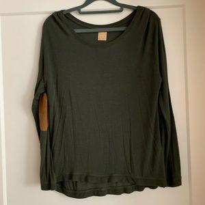 Green lightweight Zara sweater w/ elbow patches M
